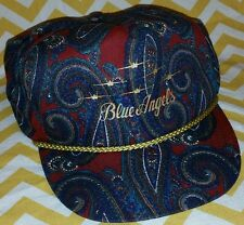 VINTAGE 80s BLUE ANGELS SNAPBACK TRUCKER GOLD CAP HAT GEEN BILL LEATHER ADJUST