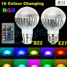 E27 RGB LED Xmas Light Bulb 5W Dimmable 16Colour Changing 85-265V+Remote Control