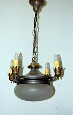 Antique 1920s 4 Arm Light Fixture w/ Wheel Cut Glass Shade, Vintage Lighting