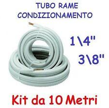 """KIT METRI 10 MT TUBO ROTOLO RAME CONDIZIONAMENTO CLIMATIZZATORE 1/4"""" + 3/8"""""""