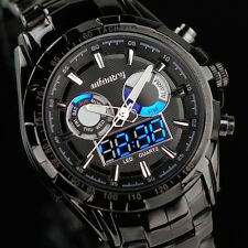 INFANTRY Mens Digital Quartz Wrist Watch Alarm Chrono Sport Military Black Steel