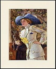 FRENCH BULLDOG AND PRETTY LADY WEARING LARGE BLUE HAT DOG PRINT READY MOUNTED