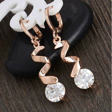 18K ROSE GOLD FILLED CZ CRYSTAL SPIRAL DROP DANGLE HOOP EARRINGS