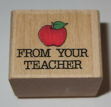 From Your Teacher Rubber Stamp Apple Homework Grading Papers School EUC