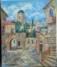 """Jerusalem Houses Old City &Montefiore Windmill 24"""" OIL PAINTING Israel Holy Land"""