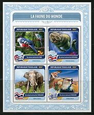 TOGO 2016  FAUNA OF THE WORLD OFFICIAL  BIRD OR ANIMAL THAILAND  COSTA RICA  SHT