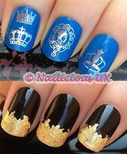 NAIL ART SET #435. ROYAL QUEEN CROWN WATER TRANSFER/DECALS/STICKERS & GOLD LEAF