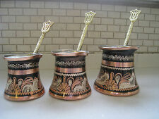 (SET OF 3)Turkish Traditional Coffee Maker Pot Cezve Totally Handmade Handcarved