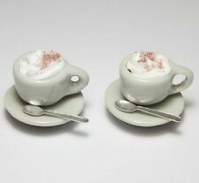 Dollhouse Miniature Cups with Saucers & Metal Spoons * Doll Mini Food Drink Cup