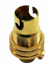 BC B15 Light Bulb Lamp holder 10mm, Earthed in Polished Brass Unswitched (A96M)