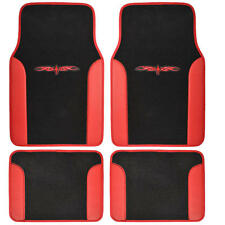 4 Piece Tattoo Design Floor Mats for Car SUV 2 Tone Red Black Color