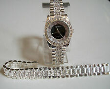 SILVER FINISH CLEAR CRYSTAL GENEVA  WATCH AND BRACELET SET