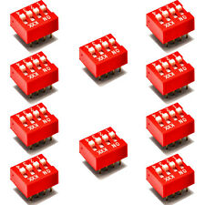 10pcs DIP Red 2.54mm Pitch 8 pins 4 Positions Ways Slide Type Switch New AU