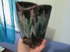 Vintage Beauce Canadian #1203 Green drip brown mid century Vase beauceware