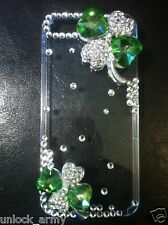 3D St. Patrick's Green Hearts Swarovski Crystal Bling Case Handmade iPhone 5 5S