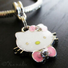 Pink Hello Kitty With Rhinestone Bow Tie European Charm Bead For Charm Bracelets