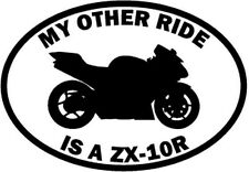 "RIDE KAWASAKI NINJA ZX-10R MOTORCYCLE Vinyl Decal Sticker-6"" Wide White Color"