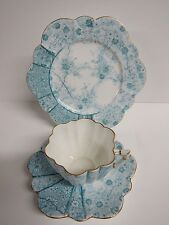 ANTIQUE SHELLEY FOLEY WILEMAN DAISY SHAPED JUNGLE PATTERN TRIO