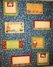 Christmas Quilt Labels 8 per panel Blue by P&B