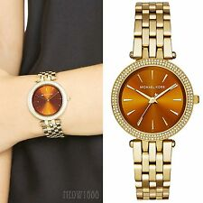 Brand New Michael Kors Women Gold Mini Darci Glitz Bracelet Watch MK3408