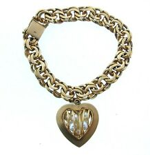 14K YELLOW GOLD CHARM BRACELET PEARL HEART STAMPED VINTAGE CHAIN