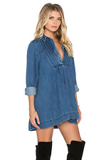 NWT Free People Baby Blues in Robin's Denim Tunic Half Button Shirt XS $148