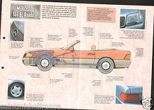 Mercedes 500 SL V8 Roadster Capote/Hard Top Germany 1989 Auto Car FICHE FRANCE