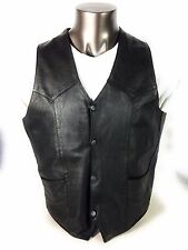 Silver Bike Men's Black Leather Motorcycle MC Vest size L New