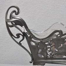 WMF Jugendstil Jardiniere Efeu, versilbert, Glaseinsatz, 44cm, seltenes Modell