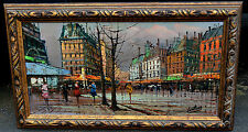 EUROPEAN STREET SCENE IN FALL OIL ON CANVAS FRAMED SIGNED by LENTERA CITYSCAPE