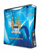 Xbox 360 Slim Console Skin Sticker Manchester City Football Club Sky Blues New
