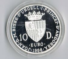 ANDORRA 10 DINAR 1998 WOMAN WITH FLOWER BASKET COIN PROOF-IN CAPSULE +COA