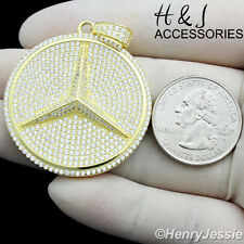 MEN 925 STERLING SILVER LAB DIAMOND ICED OUT BLING BENS GOLD ROUND PENDANT*SP77