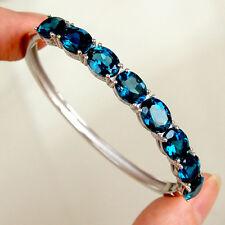 #BR88 Bracelet Jonc  Argent Massif 925  Topazes  Bleu de Londres - London Blue