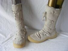 Ladies mid calf boots in beige suede, faux fur lining, lace decor, size 7 UK.