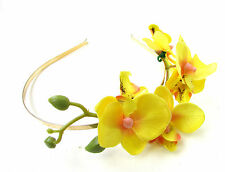 Yellow & Gold Orchid Flower Headband Fascinator Vintage Rockabilly Races X-28