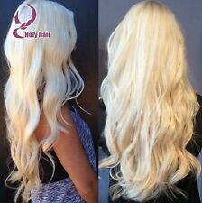 Platinum white wavy curly hair.  European blonde lace front wig. Human. Long