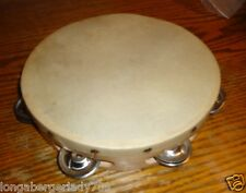 "8"" WOOD TAMBORINE TAMBOURINE WITH HEAD LOOK MUSIC STAGE MUSICAL STUDIO RECORDING"