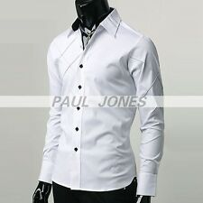 Fashion Mens Korean Slap-up Slim Long Sleeve Casual/Formal Dress Shirts S~XL