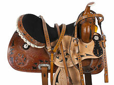 MULE WESTERN BARREL RACING PLEASURE TRAIL LEATHER SADDLE HORSE TACK 14 15 16
