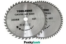 2 Pc 300mm x 30mm Bore TCT Circular Saw Blades 40 and 60 Teeth Hardwood Softwood