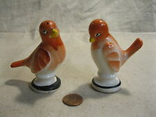 Vintage Footed Hand Painted Peach Bird Salt and Pepper Shakers Ceramic         7