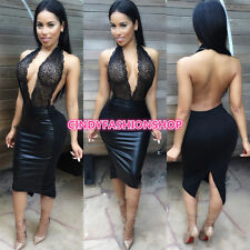 New Sexy Women Halter Bandage V-Neck Lace  Patchwork See Through Bodycon Dress