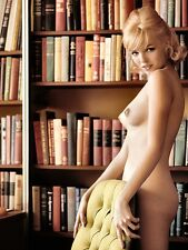 1960s Vintage nude pinup behind chair in library  8 x 10 photograph