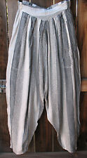 ART TO WEAR GRAY & WHITE MOROCCAN HAND WOVEN BOHO GYPSY HAREM PANTS, OS!