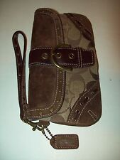 Coach Brown Denim Leather Coin Purse Wristlet..............Very Nice