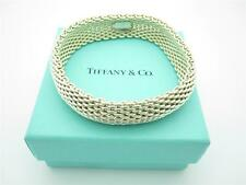 Tiffany & Co. Sterling Silver Medium Size Somerset Mesh Bangle Bracelet with Box