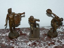 Superbe rare lot de 3 sculptures ( Athlète homme Apollon grec bronze ) 19ème