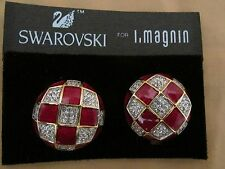 New Beautiful Vintage Swarovski for I.Magnin Clip-On Earrings Red/Clear/Gold $90