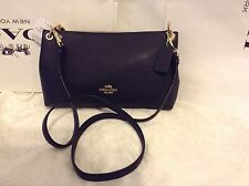 NWT Coach Pebbled Leather Charley Cross-body / Shoulder Bag Midnight Blue F55661